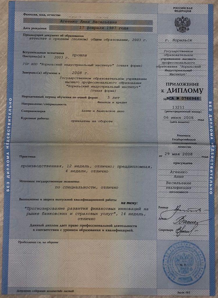 Приложение к диплому экономиста Агеенко Анны Васильевны